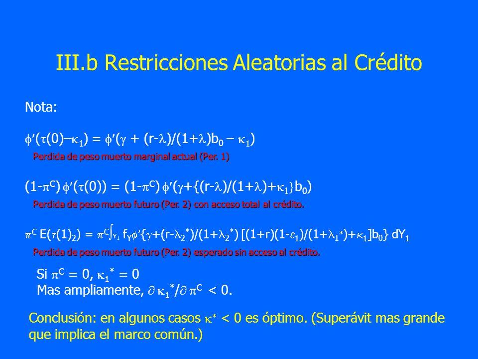 III.b Restricciones Aleatorias al Crédito Si C = 0, 1 * = 0 Mas ampliamente, 1 * / C < 0. Conclusión: en algunos casos < 0 es óptimo. (Superávit mas g