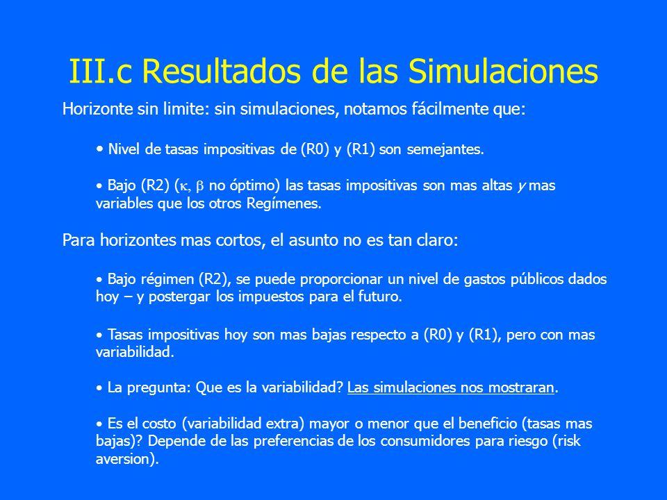 III.c Resultados de las Simulaciones Horizonte sin limite: sin simulaciones, notamos fácilmente que: Nivel de tasas impositivas de (R0) y (R1) son sem