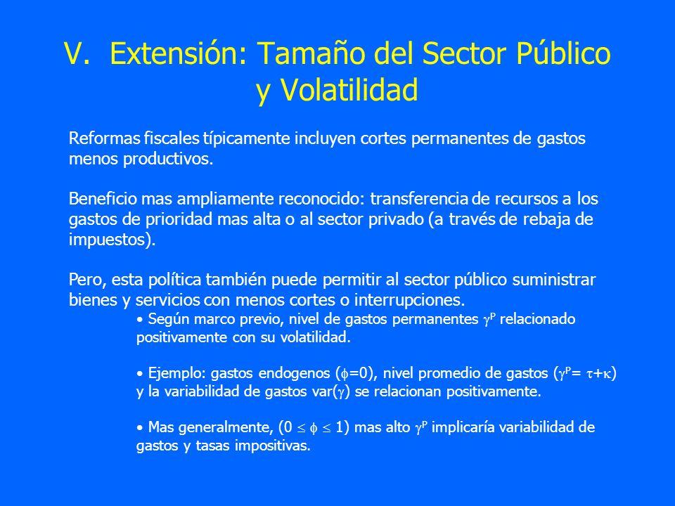 V. Extensión: Tamaño del Sector Público y Volatilidad Reformas fiscales típicamente incluyen cortes permanentes de gastos menos productivos. Beneficio