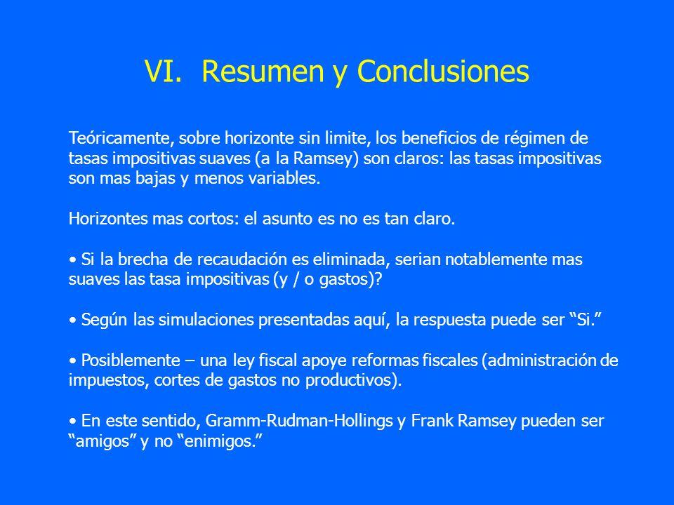VI. Resumen y Conclusiones Teóricamente, sobre horizonte sin limite, los beneficios de régimen de tasas impositivas suaves (a la Ramsey) son claros: l