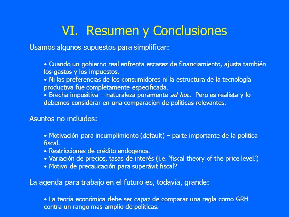 VI. Resumen y Conclusiones Usamos algunos supuestos para simplificar: Cuando un gobierno real enfrenta escasez de financiamiento, ajusta también los g