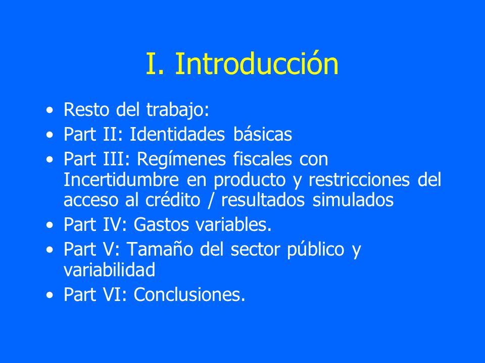 I. Introducción Resto del trabajo: Part II: Identidades básicas Part III: Regímenes fiscales con Incertidumbre en producto y restricciones del acceso