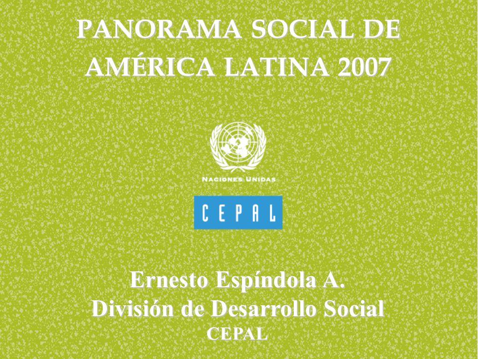Panorama social de América Latina 2007 Ernesto Espíndola A. División de Desarrollo Social CEPAL PANORAMA SOCIAL DE AMÉRICA LATINA 2007