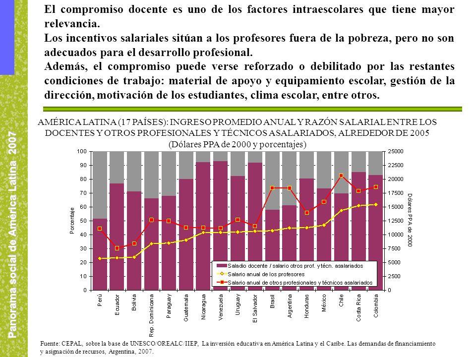 Panorama social de América Latina 2007 El compromiso docente es uno de los factores intraescolares que tiene mayor relevancia. Los incentivos salarial