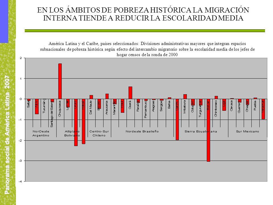 Panorama social de América Latina 2007 EN LOS ÁMBITOS DE POBREZA HISTÓRICA LA MIGRACIÓN INTERNA TIENDE A REDUCIR LA ESCOLARIDAD MEDIA América Latina y
