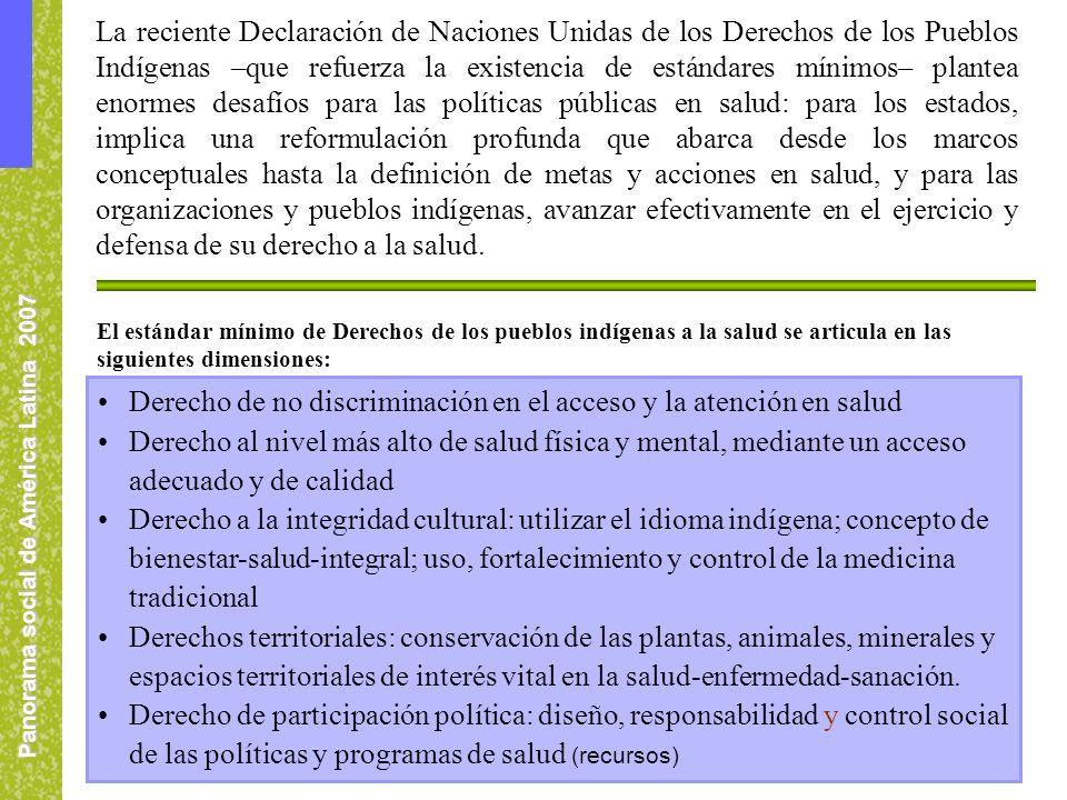 Panorama social de América Latina 2007 La reciente Declaración de Naciones Unidas de los Derechos de los Pueblos Indígenas –que refuerza la existencia