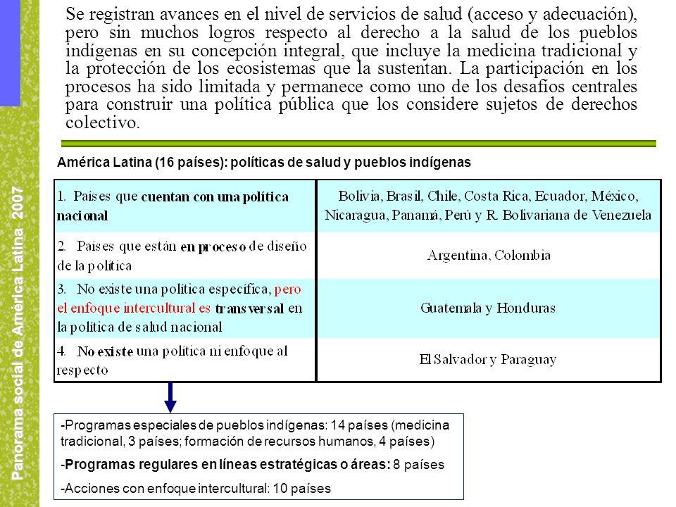 Panorama social de América Latina 2007 América Latina (16 países): políticas de salud y pueblos indígenas -Programas especiales de pueblos indígenas: