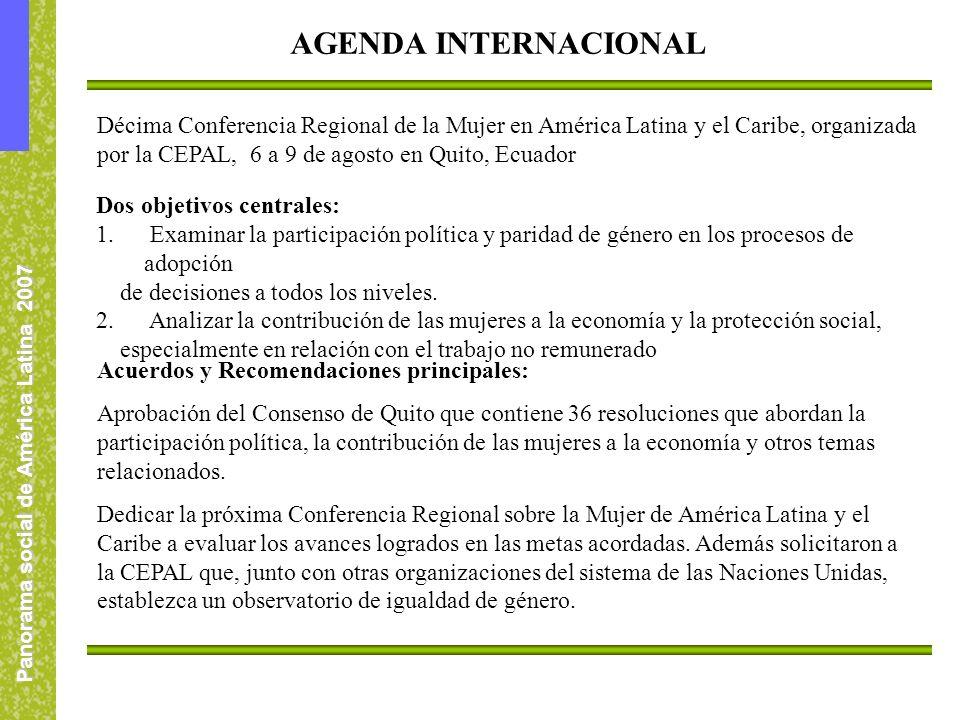 Panorama social de América Latina 2007 Décima Conferencia Regional de la Mujer en América Latina y el Caribe, organizada por la CEPAL, 6 a 9 de agosto en Quito, Ecuador Acuerdos y Recomendaciones principales: Aprobación del Consenso de Quito que contiene 36 resoluciones que abordan la participación política, la contribución de las mujeres a la economía y otros temas relacionados.