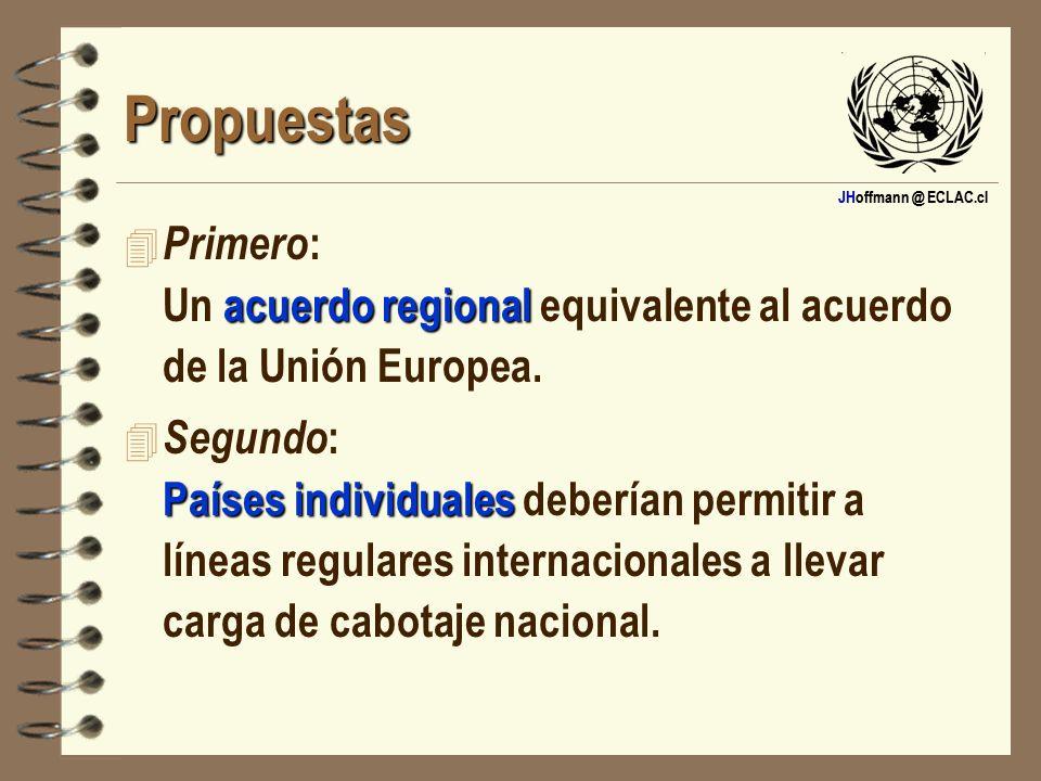JHoffmann @ ECLAC.cl Propuestas acuerdo regional 4 Primero : Un acuerdo regional equivalente al acuerdo de la Unión Europea. Países individuales 4 Seg
