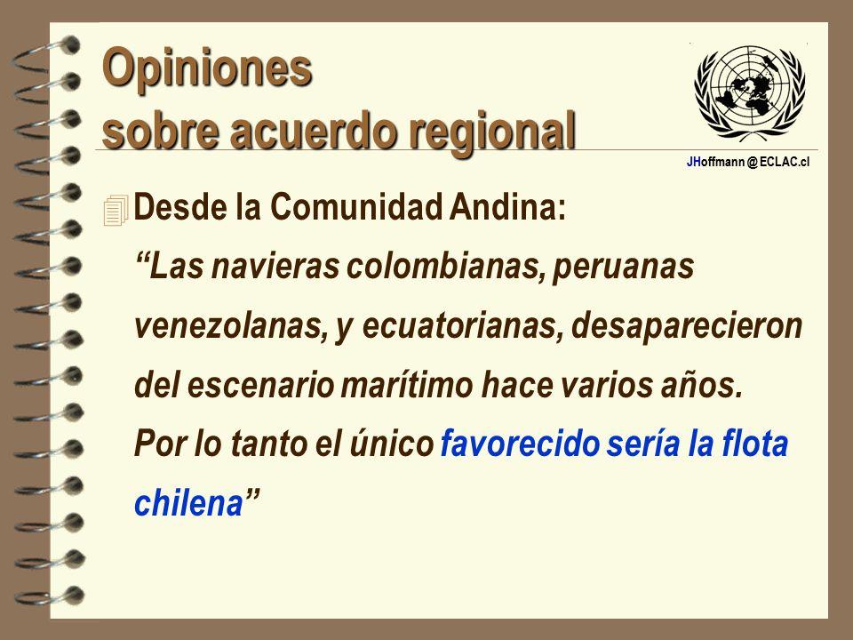 JHoffmann @ ECLAC.cl Opiniones sobre acuerdo regional 4 Desde la Comunidad Andina: Las navieras colombianas, peruanas venezolanas, y ecuatorianas, des