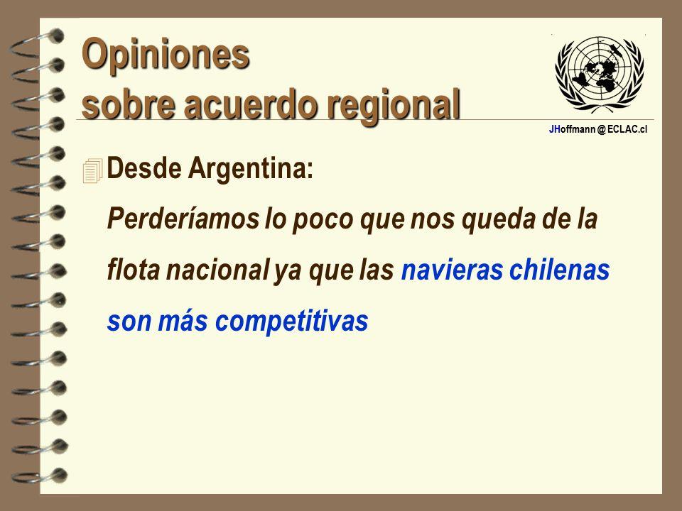 JHoffmann @ ECLAC.cl Opiniones sobre acuerdo regional 4 Desde Argentina: Perderíamos lo poco que nos queda de la flota nacional ya que las navieras ch