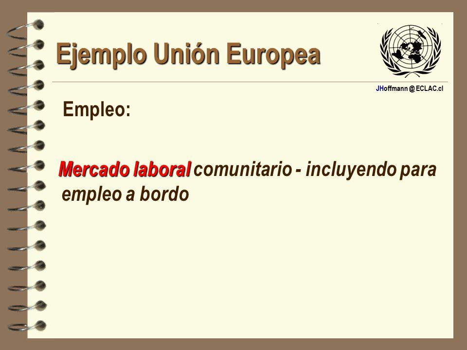 JHoffmann @ ECLAC.cl Ejemplo Unión Europea Empleo: Mercado laboral Mercado laboral comunitario - incluyendo para empleo a bordo