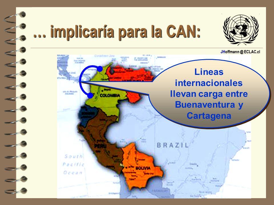 JHoffmann @ ECLAC.cl … implicaría para la CAN: Lineas internacionales llevan carga entre Buenaventura y Cartagena