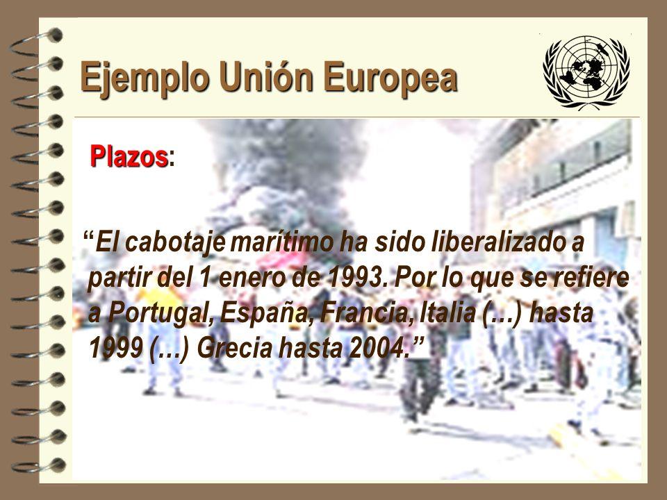 JHoffmann @ ECLAC.cl Ejemplo Unión Europea Plazos Plazos: El cabotaje marítimo ha sido liberalizado a partir del 1 enero de 1993. Por lo que se refier