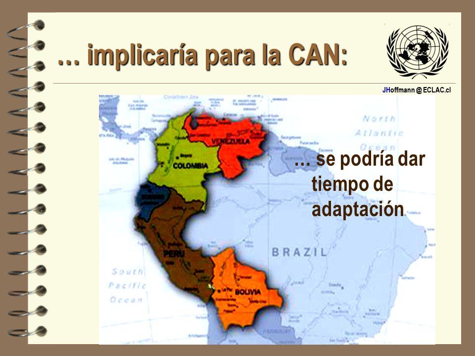 JHoffmann @ ECLAC.cl … implicaría para la CAN: … se podría dar tiempo de adaptación