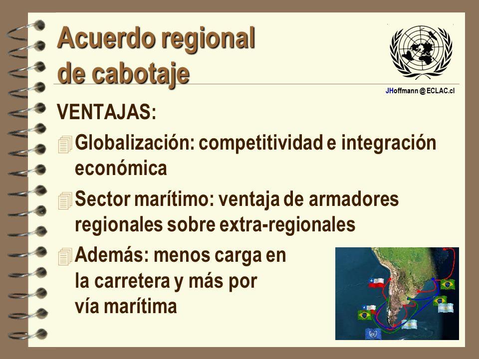 JHoffmann @ ECLAC.cl Acuerdo regional de cabotaje VENTAJAS: 4 Globalización: competitividad e integración económica 4 Sector marítimo: ventaja de arma