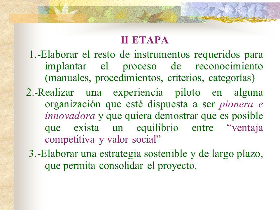 II ETAPA 1.-Elaborar el resto de instrumentos requeridos para implantar el proceso de reconocimiento (manuales, procedimientos, criterios, categorías)