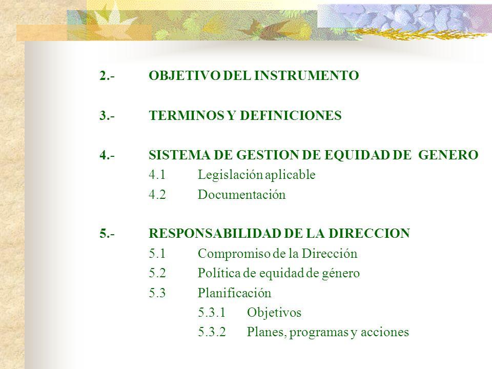 2.-OBJETIVO DEL INSTRUMENTO 3.-TERMINOS Y DEFINICIONES 4.-SISTEMA DE GESTION DE EQUIDAD DE GENERO 4.1Legislación aplicable 4.2Documentación 5.-RESPONS