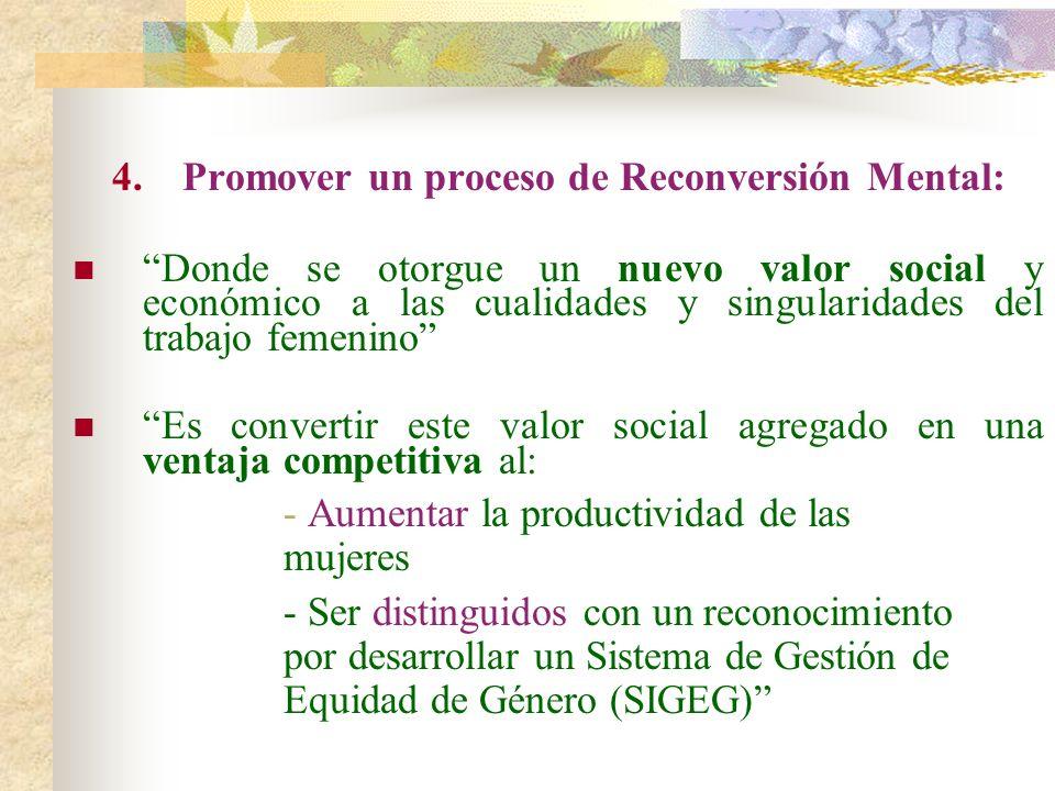 4.Promover un proceso de Reconversión Mental: Donde se otorgue un nuevo valor social y económico a las cualidades y singularidades del trabajo femenin