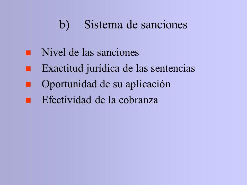 b)Sistema de sanciones n Nivel de las sanciones n Exactitud jurídica de las sentencias n Oportunidad de su aplicación n Efectividad de la cobranza