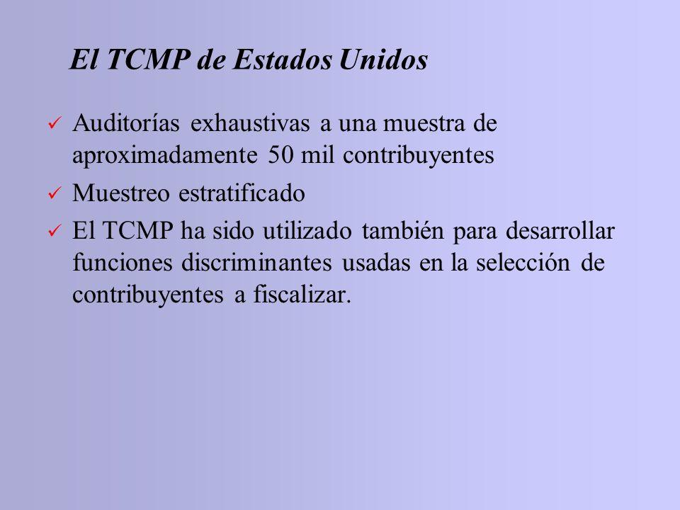 El TCMP de Estados Unidos Auditorías exhaustivas a una muestra de aproximadamente 50 mil contribuyentes Muestreo estratificado El TCMP ha sido utiliza