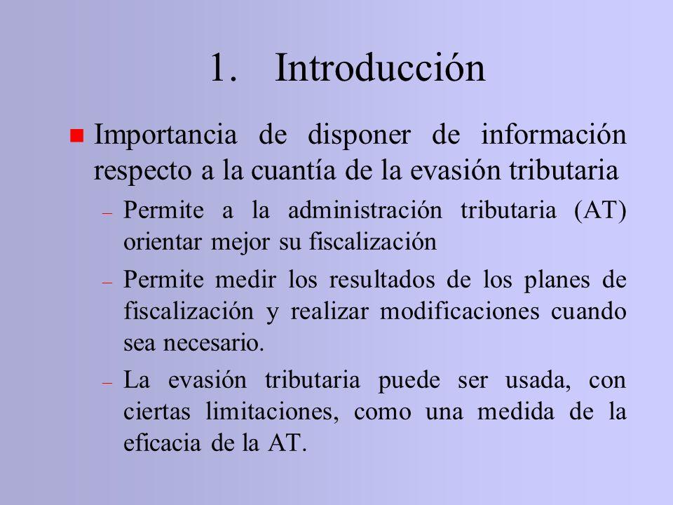 n Importancia de disponer de información respecto a la cuantía de la evasión tributaria – Permite a la administración tributaria (AT) orientar mejor s