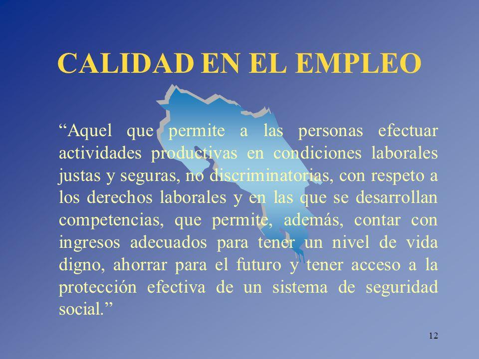 12 CALIDAD EN EL EMPLEO Aquel que permite a las personas efectuar actividades productivas en condiciones laborales justas y seguras, no discriminatori