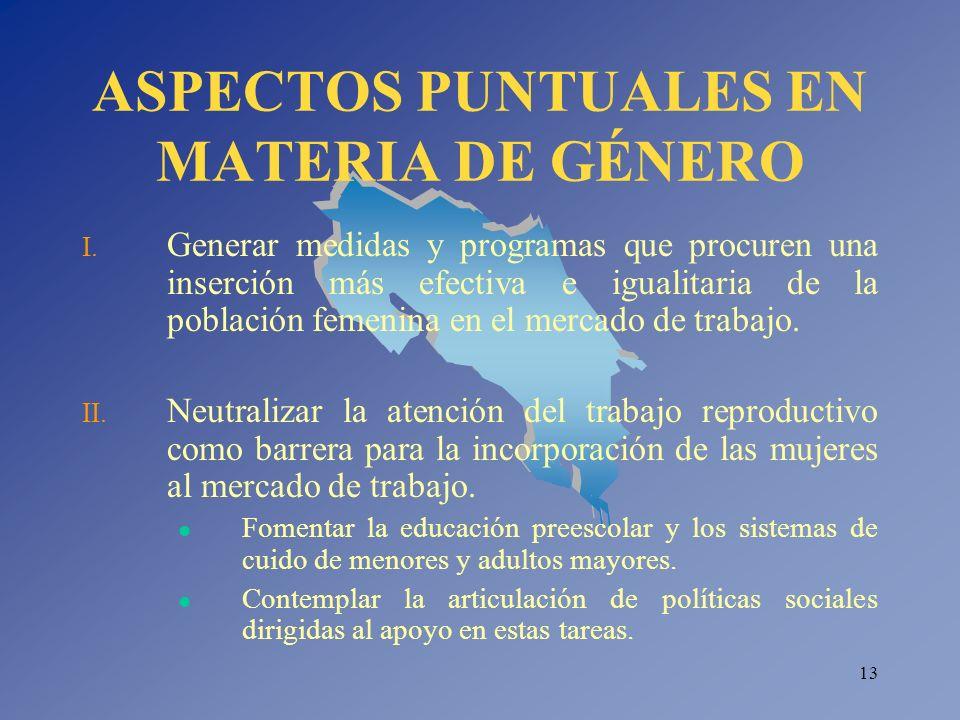 13 ASPECTOS PUNTUALES EN MATERIA DE GÉNERO I. Generar medidas y programas que procuren una inserción más efectiva e igualitaria de la población femeni