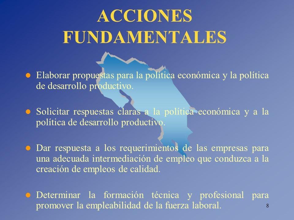 8 ACCIONES FUNDAMENTALES Elaborar propuestas para la política económica y la política de desarrollo productivo. Solicitar respuestas claras a la polít