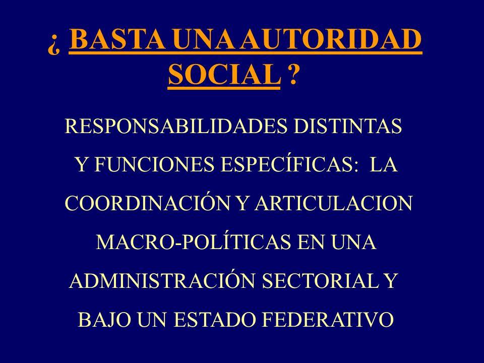 ¿ BASTA UNA AUTORIDAD SOCIAL ? RESPONSABILIDADES DISTINTAS Y FUNCIONES ESPECÍFICAS: LA COORDINACIÓN Y ARTICULACION MACRO-POLÍTICAS EN UNA ADMINISTRACI