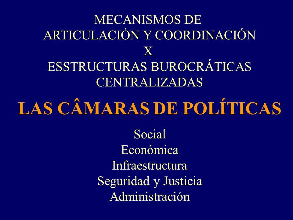 MECANISMOS DE ARTICULACIÓN Y COORDINACIÓN X ESSTRUCTURAS BUROCRÁTICAS CENTRALIZADAS LAS CÂMARAS DE POLÍTICAS Social Económica Infraestructura Segurida