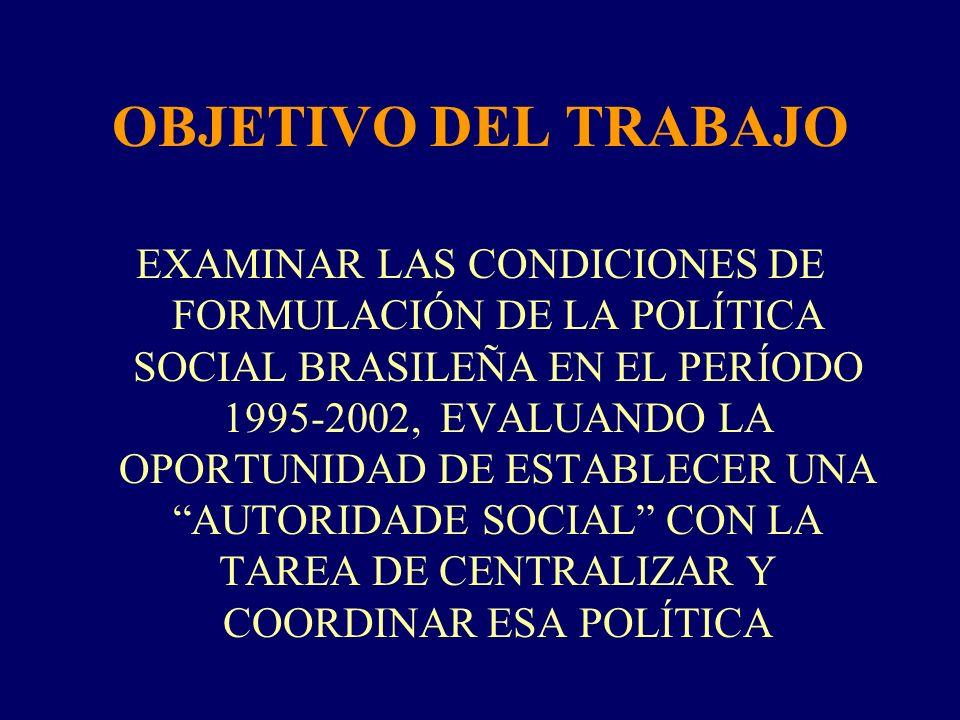 OBJETIVO DEL TRABAJO EXAMINAR LAS CONDICIONES DE FORMULACIÓN DE LA POLÍTICA SOCIAL BRASILEÑA EN EL PERÍODO 1995-2002, EVALUANDO LA OPORTUNIDAD DE ESTA