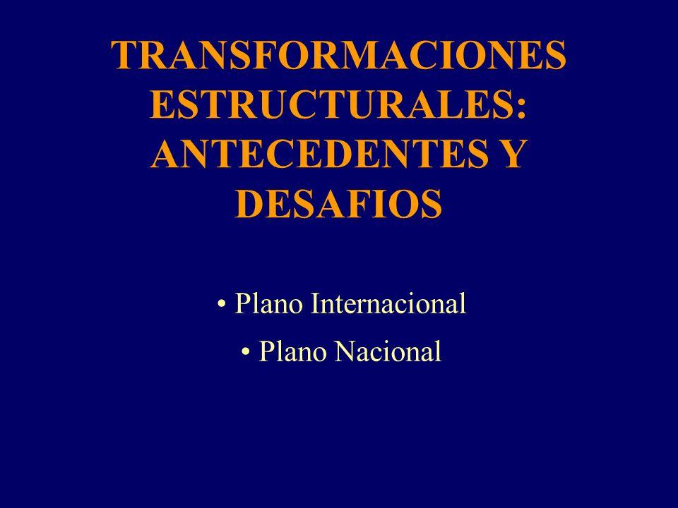 TRANSFORMACIONES ESTRUCTURALES: ANTECEDENTES Y DESAFIOS Plano Internacional Plano Nacional