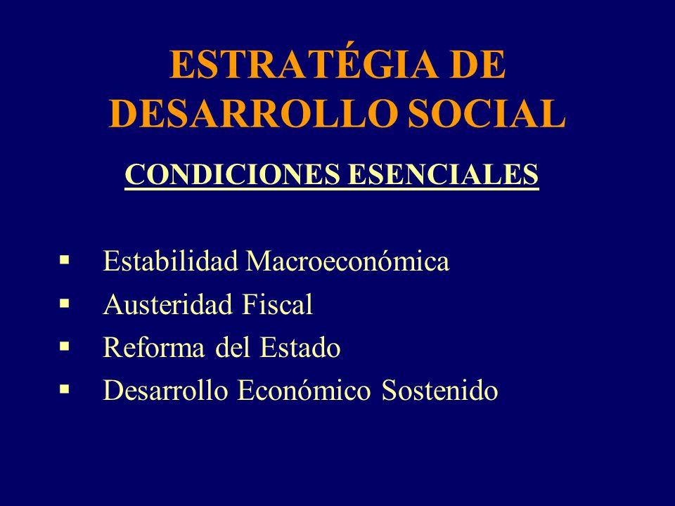 ESTRATÉGIA DE DESARROLLO SOCIAL CONDICIONES ESENCIALES Estabilidad Macroeconómica Austeridad Fiscal Reforma del Estado Desarrollo Económico Sostenido