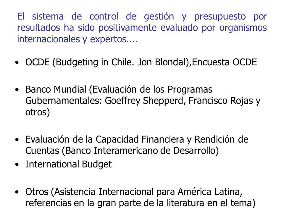 El sistema de control de gestión y presupuesto por resultados ha sido positivamente evaluado por organismos internacionales y expertos.... OCDE (Budge