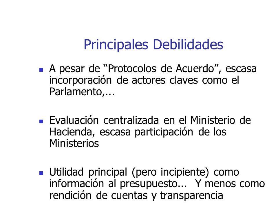 Principales Debilidades A pesar de Protocolos de Acuerdo, escasa incorporación de actores claves como el Parlamento,... Evaluación centralizada en el