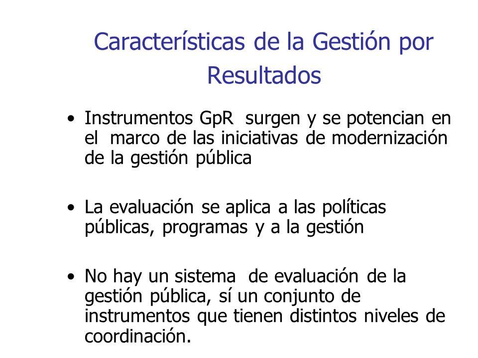 Características de la Gestión por Resultados Instrumentos GpR surgen y se potencian en el marco de las iniciativas de modernización de la gestión públ