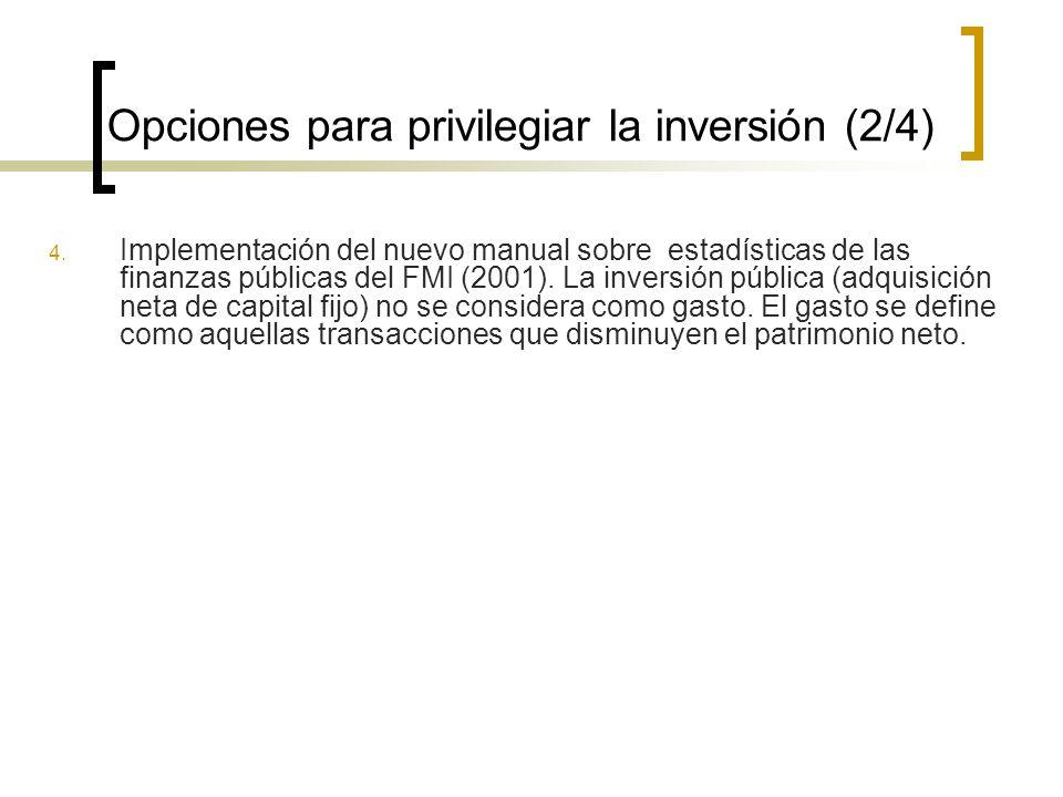 Opciones para privilegiar la inversión (2/4) 4.