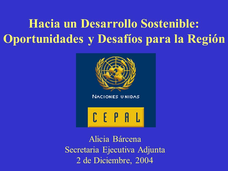 Hacia un Desarrollo Sostenible: Oportunidades y Desafíos para la Región Alicia Bárcena Secretaria Ejecutiva Adjunta 2 de Diciembre, 2004