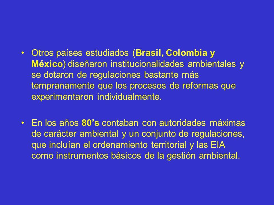 Otros países estudiados (Brasil, Colombia y México) diseñaron institucionalidades ambientales y se dotaron de regulaciones bastante más tempranamente