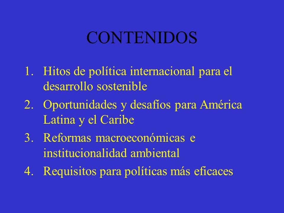 Hitos para el Desarrollo Sostenible Conferencia de Estocolmo 1972 Nuestro Futuro Común 1987 Cumbre de la Tierra 1992 Ronda de Uruguay 1994 Protocolo de Kyoto 1997 Cumbre del Milenio 2000 Conferencia de Doha 2001 Financiación para el Desarrollo 2002 Cumbre de Johannesburgo 2002