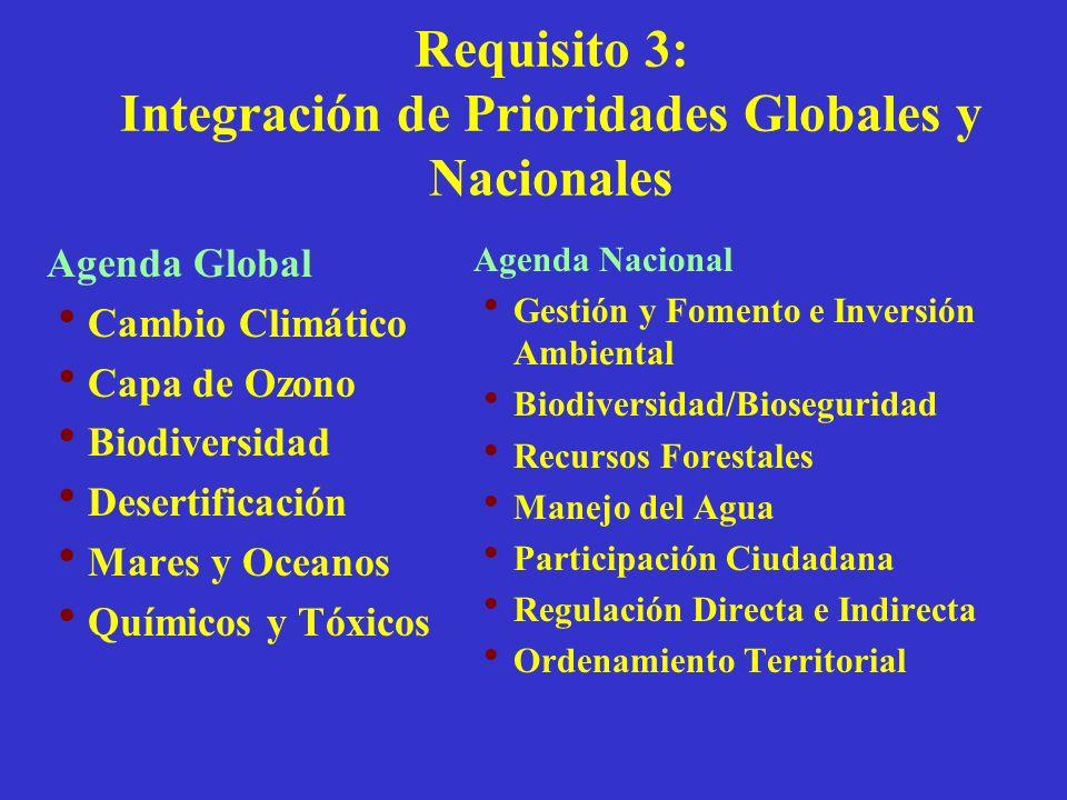 Requisito 3: Integración de Prioridades Globales y Nacionales Agenda Global Cambio Climático Capa de Ozono Biodiversidad Desertificación Mares y Ocean