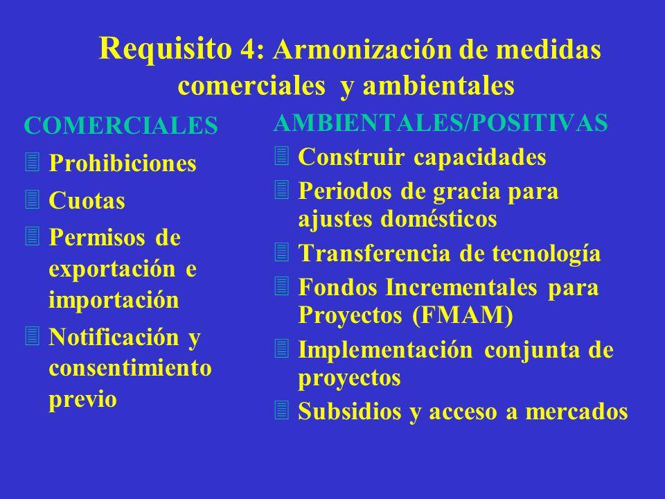 Requisito 4: Armonización de medidas comerciales y ambientales COMERCIALES 3Prohibiciones 3Cuotas 3Permisos de exportación e importación 3Notificación