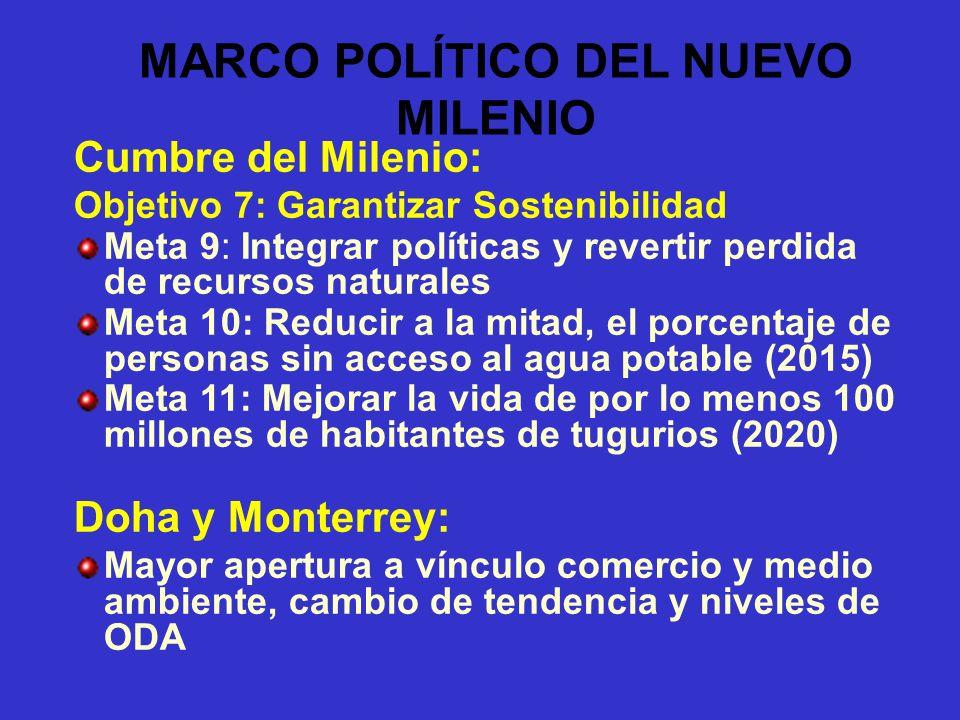MARCO POLÍTICO DEL NUEVO MILENIO Cumbre del Milenio: Objetivo 7: Garantizar Sostenibilidad Meta 9: Integrar políticas y revertir perdida de recursos n