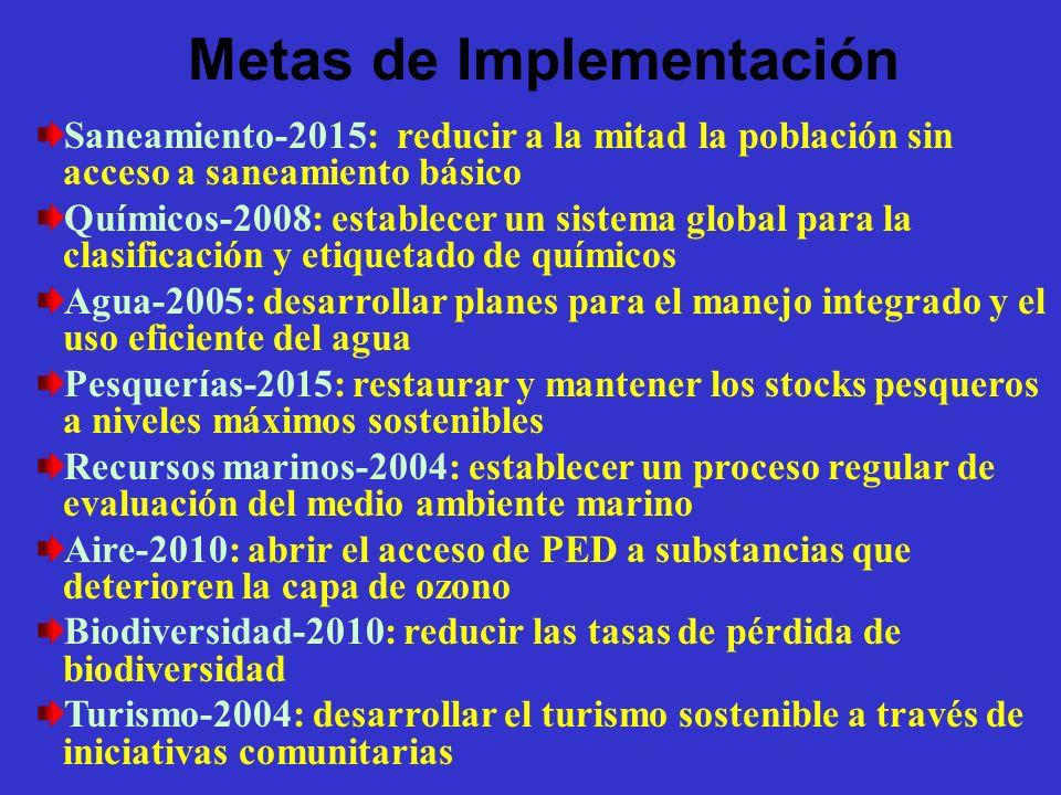 Metas de Implementación Saneamiento-2015: reducir a la mitad la población sin acceso a saneamiento básico Químicos-2008: establecer un sistema global