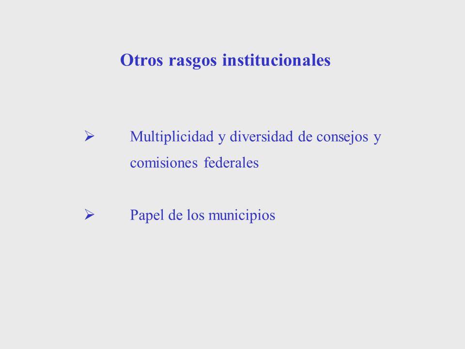 Otros rasgos institucionales Multiplicidad y diversidad de consejos y comisiones federales Papel de los municipios