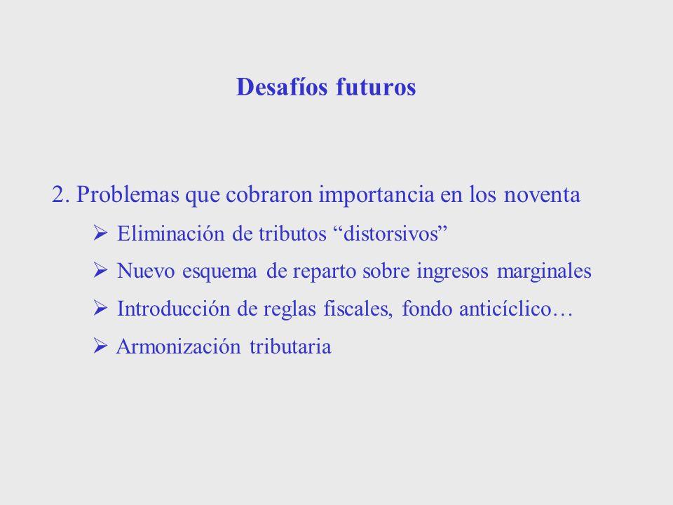 Desafíos futuros 2. Problemas que cobraron importancia en los noventa Eliminación de tributos distorsivos Nuevo esquema de reparto sobre ingresos marg