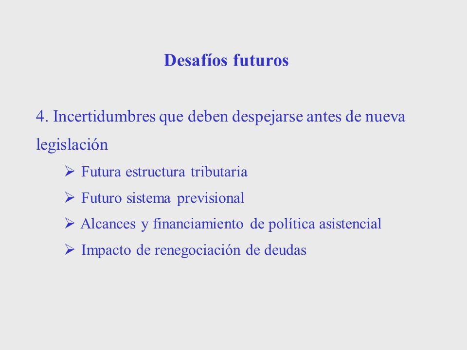 Desafíos futuros 4. Incertidumbres que deben despejarse antes de nueva legislación Futura estructura tributaria Futuro sistema previsional Alcances y