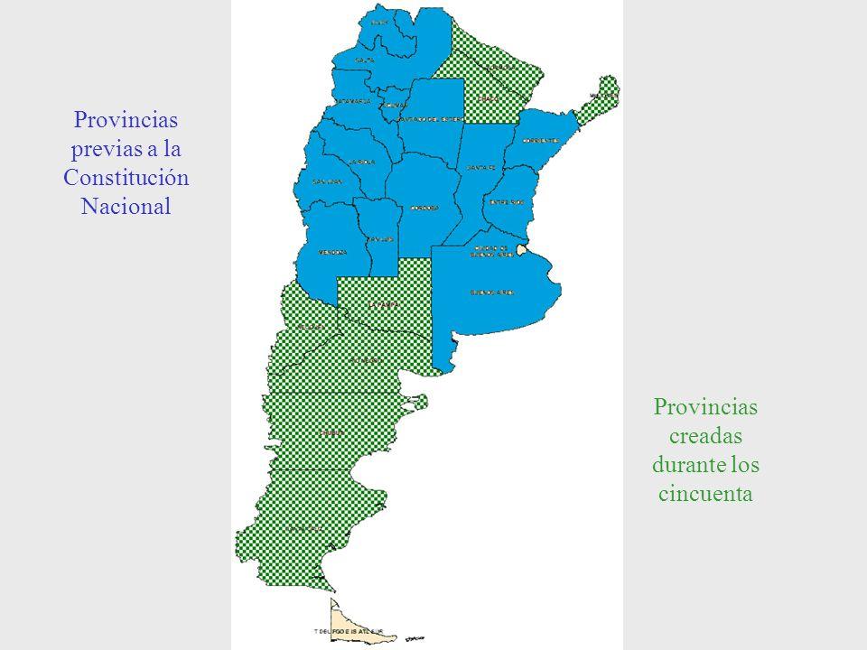 Provincias previas a la Constitución Nacional Provincias creadas durante los cincuenta