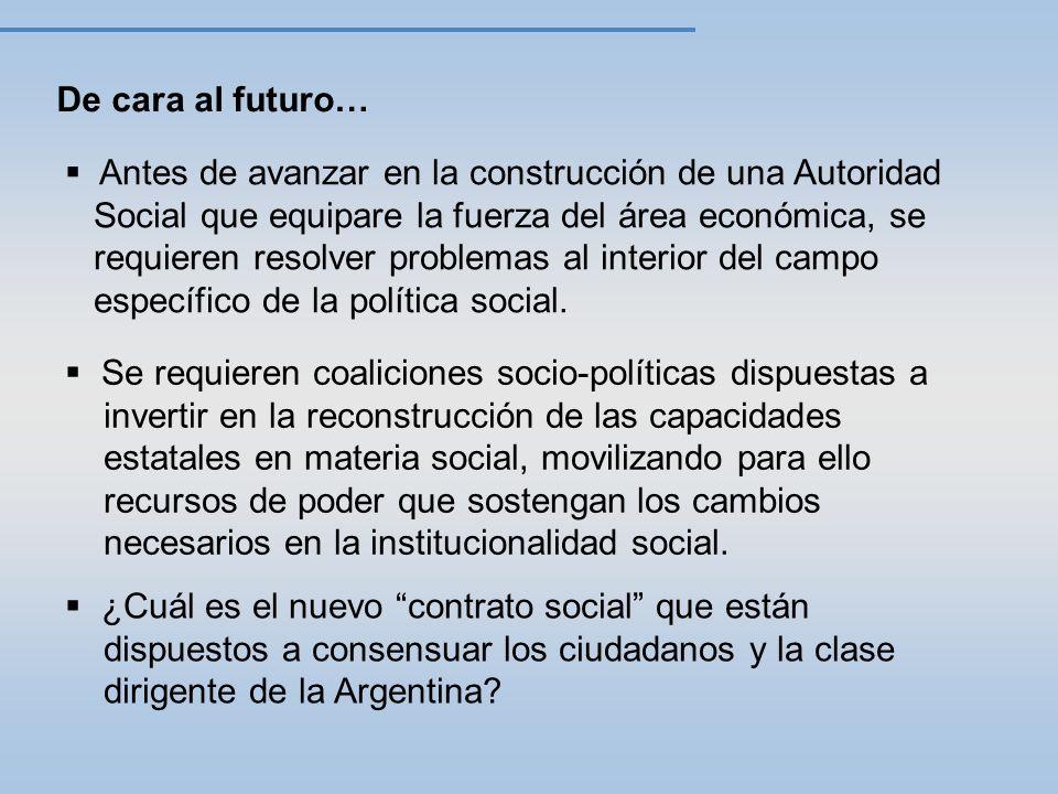 De cara al futuro… Antes de avanzar en la construcción de una Autoridad Social que equipare la fuerza del área económica, se requieren resolver problemas al interior del campo específico de la política social.